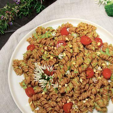 Dinkelvollkorn Rollini mit Brokkoli-Pesto und Cocktailtomaten