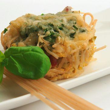 Herzhafte Dinkel Spaghetti-Muffins